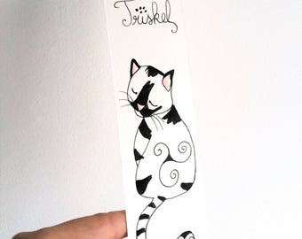 "Bookmark cat ""TRISKEL"" watercolor paper, stationery, gift"