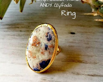 Semi-Precious stone Agate Ring with Brass-Agate Jewelry