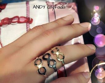 Ιnfinity Ring ,Colors : Silver,Gold,Dark Silver and Gun Metal,Brass Infinity Ring,Nickel Free