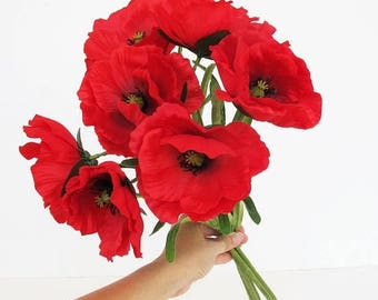 SALE 7 Silk Poppies Branches Total 14 Blossoms Artificial Flowers Red Poppy Flower Floral Hair Accessories Poppy with Leaves Supplies Faux