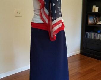 Navy blue straight skirt, stretchy cotton.  Size Large (12-14).  Handmade USA.