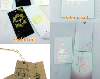 Custom hang tag gold foil, gold metallic tags, gold foil hang tags custom