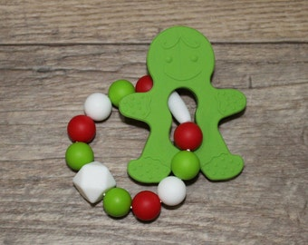 Silicone Teething Toy   Christmas Teething Ring   Gingerbread Man   Modern   Handmade in Canada   Unique   Baby   Kenton Creations