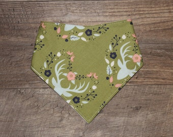 Bandana Bib | Buck | Bibdana | Deer | Antlers | Teething | Baby | Flowers | Drool Bib | Kenton Creations | Perfect Gift | Handmade in Canada
