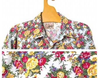 Naf Naf Original 1970 s Floral XL Shirt French Vintage