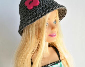 Gray Barbie doll cloche hat with pink butterfly, fashion doll hat, clothes