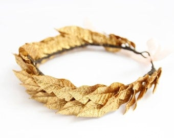 Greek Wedding Crown, Greek Headpiece, Grecian Gold Leaf Headpiece, Laurel Leaf Headband READY to SHiP
