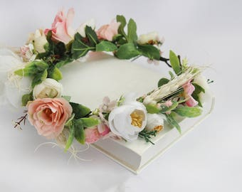 Peach Flower Crown \ Boho Hair Wreath Bridal Headpiece Bohemian Floral Crown Maternity Photo Prop