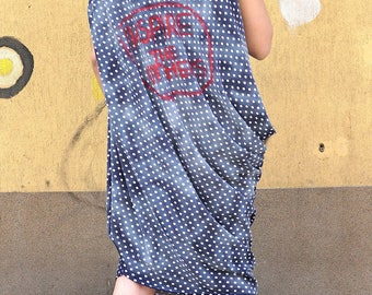 Asymmetrical Dress Tunic | Handpainted Smock Dress | Summer Dress Tunic |  | Loose Fit Dress | Excentric Sleeveless Dress | Polka Dots Dress