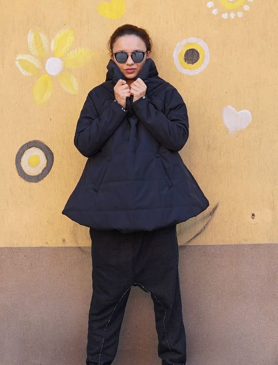 Winter Warm Loose Parka Jacket, Fall TurtleNeck Padded Coat, Waterproof Windproof Quilted Outwear, Extravagant Outwear, Pockets Coat