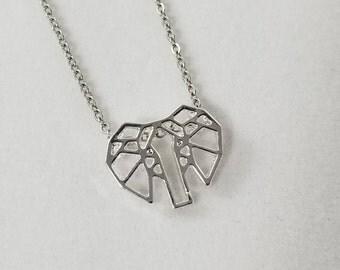 Elephant Necklace, Geometric Elephant, Origami Elephant, Elephant Head, Elephant Jewelry, Origami Jewelry