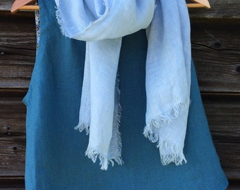 Light Blue Linen Scarf, Fashion Scarves, Linen Scarf with Fringes, Linen Shawl, Flax Shawl, Long Linen Scarf, Made in Latvia, Womens Scarves