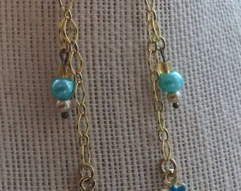 nauticool earrings, blue anchors