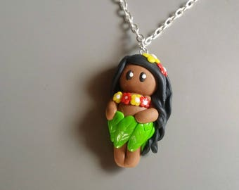 Hula Girl chibi polymer clay necklace