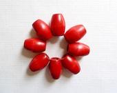 Vintage Macramé Beads - Red Macramé Beads - Large Wood Macramé Beads - Oval Macramé Beads - Holiday Macramé Beads - 1970s Macramé Beads