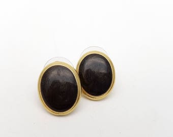 Vintage Oval Pierced Earrings Black Enamel on Gold Tone Metal Stud Geometric Modernist Mod Retro Classic Feminine Statement