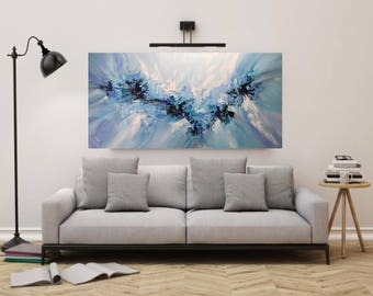 Large Abstract Original Painting, Blue Wall Art Canvas, Palette Knife Art, Impasto Textured Painting, Modern Contemporary Water Art, 48x24