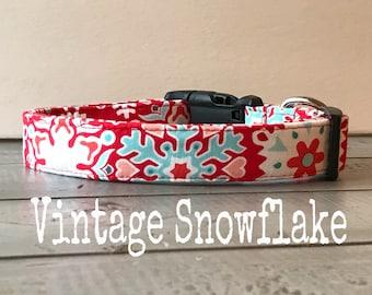 Winter DOG COLLAR,  The Vintage Snowflake, Dog Collars, Red and Aqua Dog Collar, Girl Dog Collar, Pretty Dog Collars, Cool Dog Collars