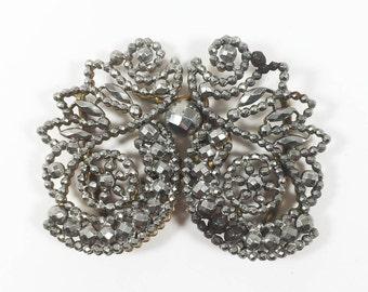 Steel Cut Belt Buckle, Vintage Silver Gray Fashion Accessory