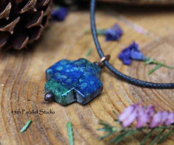 Azurite cross necklace azurite pendant azurite jewelry like this item mozeypictures Images