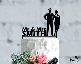 pilot flight attendant wedding cake toppers stewardess etsy 18522