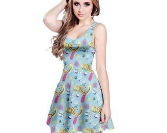 Adventure Time Skater Dress - Nerdy Dress Geeky Dress Cosplay Dress Princess Bubblegum Dress Finn Jake Ice King Lady Rainicorn