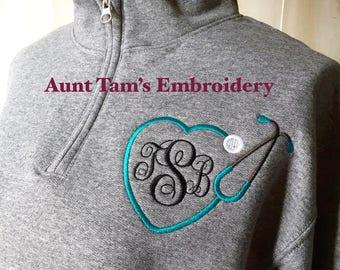 Stethoscope Monogram Sweatshirt ~ Monogram Quarter Zip ~ Nurse Sweatshirt ~ Nursing Student ~ 1/4 Zip Pullover ~ LPN ~ RN  ~ emt ~ sn
