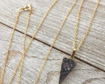 Arrowhead Druzy Necklace, Rainbow Druzy Necklace, Druzy Crystal Necklace, Drusy Necklace, Gold Edged Druzy Necklace, Triangle Druzy Pendant