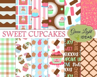 Cupcakes Digital Papers, Dessert Backgrounds, Cupcake Patterns, Birthday Cupcakes Scrapbook Papers, Baby Shower Party Commercial Use Papers