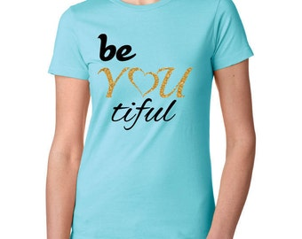 Black and Glitter Gold print 'be YOU tiful' t-shirt.