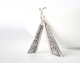 Sterling Silver Earrings | Boho Drop Angular Dangle Earrings | Gifts for Her | Bohemian Gypsy Hippie Rustic Unique Ethnic Handmade in Nepal