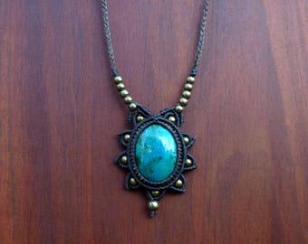 macrame - necklace - chrysocolla from Peru - micro macrame