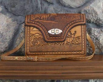 Vintage Deer Wooded Scene Tooled Leather Shoulder Purse with Turnlock Closure