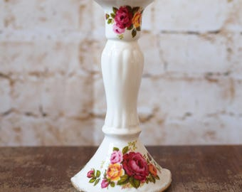 Rose Cottage' Bone China Candlestick
