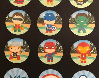 Precut Cartoon Superhero Edible Images - for cakes, cupcakes  and cookies etc