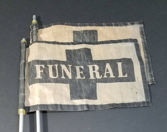 vintage hearse funeral flags with poles