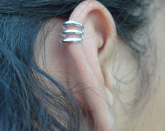 Sterling silver three wire ear cuff