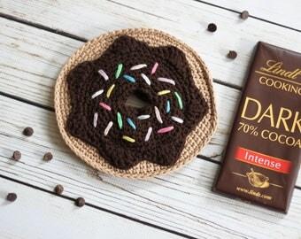 Chocolate Donut Crochet Hot Pad | 100% Cotton