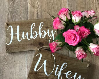 Hubby & Wifey Wedding Props, Home Decor, Wooden Signs,  Gifts for Couples, Wedding Decor, Photo Props, Rustic
