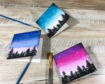 Set of 3 Space Cards Set of 3 greeting Cards Card Multipack Space holiday cards Space card Galaxy cards Space Blank Card Celebration Card