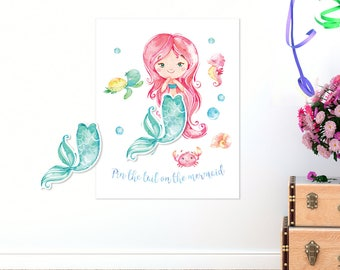 Pin the tail on the mermaid game Printable, Mermaid party games, Pool party games, Mermaid tail, Kids party games, Mermaid birthday games
