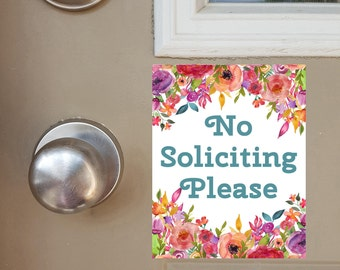No Soliciting Door Hanger, No Soliciting Door Magnet, Door Sign, Floral No Soliciting Sign, Do Not Knock, Do Not Ring Doorbell, Front Door