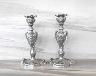 Quadruple Plate Antique  Candlesticks,Pairpoint -MPG-Co,New Badford,MASS./6155/Febry.23.1904,Set of 2 Decorative Candle holder,