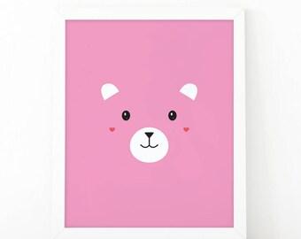 Bear print, Baby Girl, Baby pink, Kids room decor, Girls print, Bear printable, Printable art, Girl print, nursery wall art, Nursery print