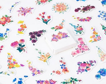 45 Pcs Flower Sticker, Flora and Fauna Sticker Flakes, Roses Filofax Stickers, Scrapbook, Floral Bullet Journal Sticker, Leaves, Wreath