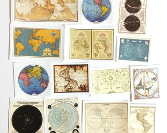 14 Pcs Vintage Map Sticker, Ancient Maps Sticker Flakes, Globe Filofax Stickers, Orbit stickers, Travel Journal, Routes, Around the World