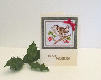 Christmas Card, Best Wishes Xmas Card, Winter Birthday Card, Handmade Cross Stitch Card, Festive Greetings Card, Stitched Chaffinch Card