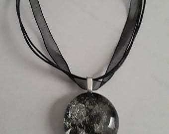 Handmade Black and Silver Cabochon with Organza Ribbon Chain