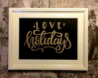 Love Holidays 3 - golden oil painting - hand made