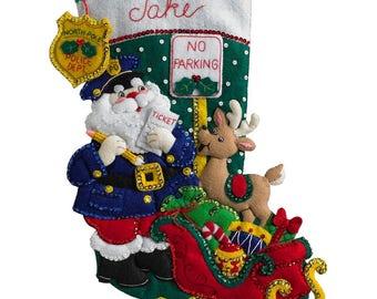 """Bucilla Officer Santa 18"""" Christmas Stocking Felt Applique Kit, 86711"""